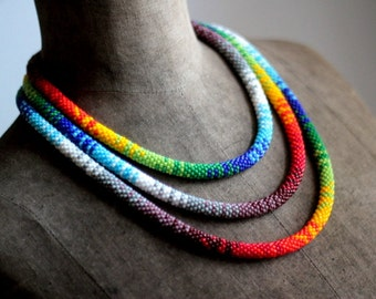 Long Bead Crochet Rope Necklace, 77 Inches Extra Long Necklace, African Beadwork Necklace, Long Necklace, Rainbow Necklace-MADE TO ORDER