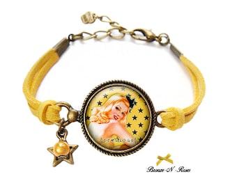 Bracelet * pin-up Girl * yellow stars bronze cabochon jewel