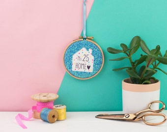 Custom embroidery hoop blue- embroidery hoop art - gift for housewarming - home gift - Embroidery hoop gift - personalised new home gift