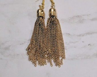 Fancy Chain and Beaded Tassel Dangle Earrings in Gold and Silver