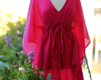 Caftan Maxi Dress - Beach Cover Up Kaftan in Fuchsia Cotton Gauze - Women's Maxi Dresses - Lots of Colors