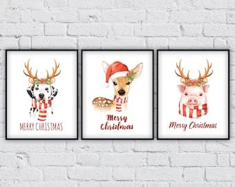 christmas wall decor, holiday wall decor, christmas animals, animal set, cute christmas art,christmas art,merry christmas,holiday home decor