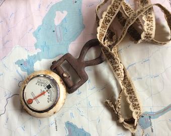 INDUSTRIAL VINTAGE PENDANT funky necklace, ooak, rust and ribbon, antique gauge, burning man, Coachella