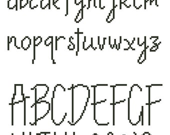 Cross stitch alphabet pattern, embroidery pattern, 30 stitches tall, Pdf - PATTERN ONLY (Alph_CS30)
