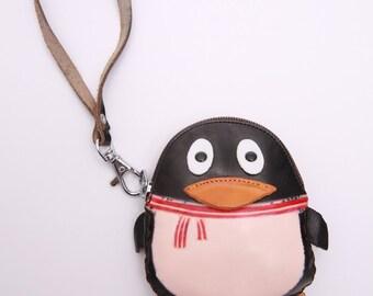 PurseWorld Women Handmade leather Black Penguin Purse Bag
