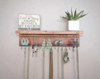 Jewelry Organizer, Jewelry Wall Organizer, Jewelry Display, Wood Decor, Wood Jewelry Stand, Wood Shelf, Bedroom Decor, Jewelry Storage
