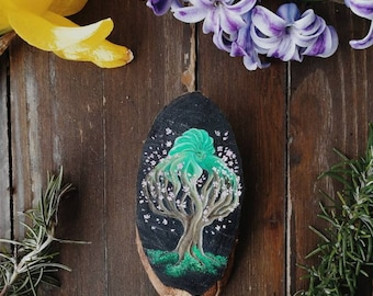Spring Sprite, Spring Spirit, Magnet with Disney Fantasy character 2000, oil painting on wood, cherry tree in Blossom