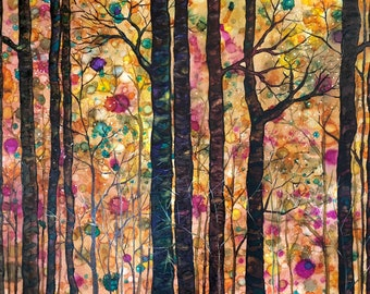 Dream Forest: Fine Art Print from mixed media painting