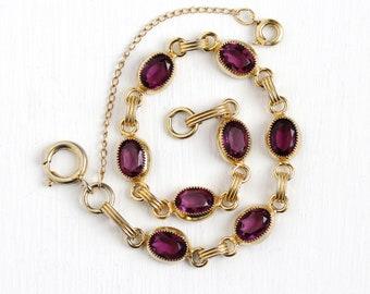 Simulated Amethyst Bracelet - Vintage 12k Yellow Gold Filled Purple Glass Stone Bracelet - Retro 1960 Oval February Birthstone Color Jewelry