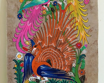 "Birds of Paradise, Mexican Folk Art, Housewarming Gift, Mexican Decor, Unusual Gift Idea, Colourful Hand Painted, Bark Paper,  24"" x 16"""