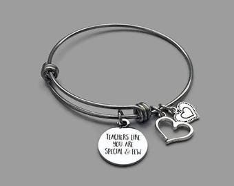 Teacher Charm Bracelet, Teacher Bracelet, Teachers Like You, Apple Charm, Apple Bracelet, Teacher Appreciation Gift, Stainless Steel