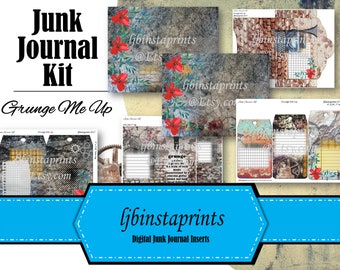 Grunge Junk Journal Kit, Junk Journal Kit, Grunge and Floral Journal Kit, DIY Junk Journal Kit, Junk Journal Kit, Instant Download