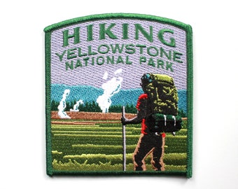 Official Yellowstone National Park Souvenir Patch Hiking Old Faithful Wyoming FREE SHIPPING