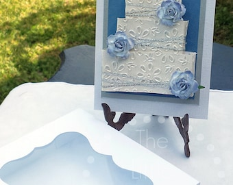 Blue Rosette Rectangle Cake Card