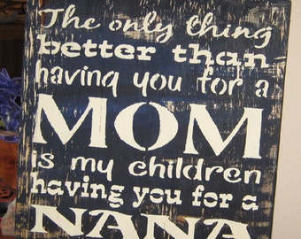 Mom/ Nana....handmade wall hanging/primitive/shabby chic/saying/Child/love/heart