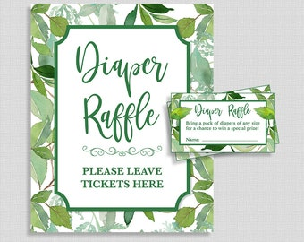 Diaper Raffle Sign and Tickets, Greenery Leaf, Gender Neutral Baby Shower, Green Leaves, Invite Insert, INSTANT PRINTABLE