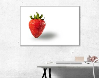 Single strawberry on a white surface. Photo Wall Art Print