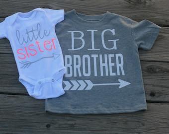 Big Brother Little Sister Shirt Set- Personalized Sibling Shirts-Boys Shirts-Girls Shirts-Announcement Shirt