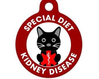 Pet ID Tag - Special Diet, Kidney Disease, Cat Medical ID Tag - Medical Alert Tag, Pet Tag, Child ID Tag, Dog Tag, Cat Tag