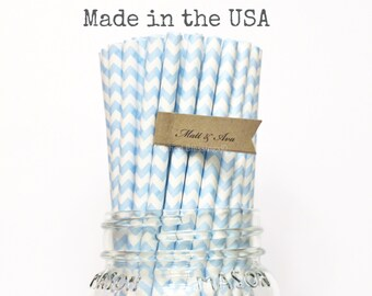 Baby Blue Paper Straws, 100 Powder Blue Light Blue, Wedding, Baby Shower, Made in USA, Princess Birthday Party, Rustic, Vintage Party straws
