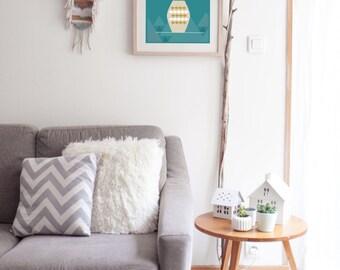"""Affiche scandinave """"VASE"""" - poster graphique inspiration scandinave - triangle - losange - géométrique - vase - plantes"""