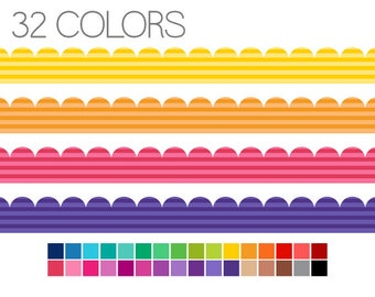 Scalloped Digital Borders Striped - Edging Clip Art - Instant Download - Commercial Use - V1