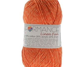 10 x 50g knitted yarn linen fun #194 Orange