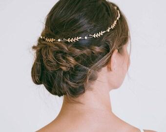 Bridal Hair Vine, Gold Hair Vine, Leaf Wreath, Gold Headband, Gold hair vine, Bride Hair Accessories, Gold Leaf Hair Vine