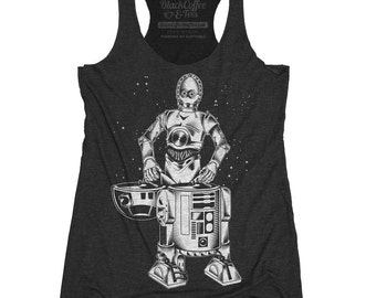 Star Wars Shirt - Womens R2D2 - C3PO - DJ Shirt - Womens Star Wars Tank Top - R2D2 and C3PO Hand Screen Printed on a Womens Tank Top