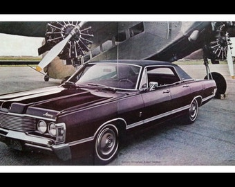 68 Mercury Brougham PURPLE 1968 with Pilot and 1928 Ford Tin Goose Tri-Motor Plane 2 pages Classic Photo Vintage Aeronautics