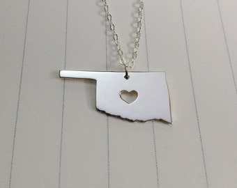Oklahoma State Charm Necklace,Silver Oklahoma State Necklace,OK State Necklace,State Shaped Necklace  With A Heart