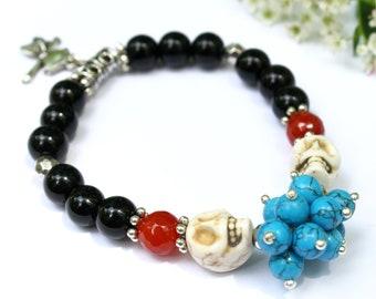 Turquoise Skull Stretch Bracelet, Sugar Skull Bracelet, Day of the Dead Bracelet, Muertos Jewelry