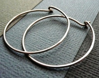Medium Sterling Silver Hoop Earrings. Modern Contemporary Simple Sleek Elegant Design.