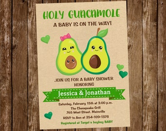 Avocado Baby Shower Invitation, Avocado, Invitation, Guacamole, Baby Sprinkle, Baby Shower, - Digital or Printed with FREE SHIPPING