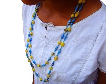 Beaded necklace in recycled paper - blue and yellow - nxl01