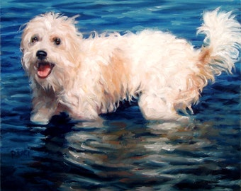 """Custom Pet Portrait, Dog Painting, original painting of your dog, in oils by puci, 10x12"""""""