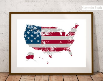 Wall decor Digital print US map America Home decor 4th july printable United States Map wall art USA Map poster Dorm room decor Gift for dad