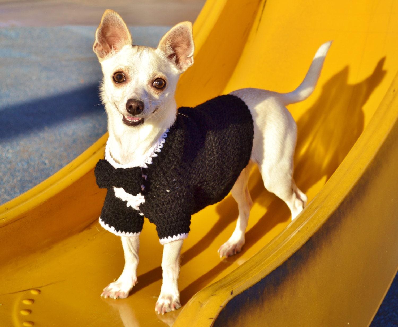 Wedding Tuxedo for Dogs Tuxedo Dog Sweater Crochet Tuxedo