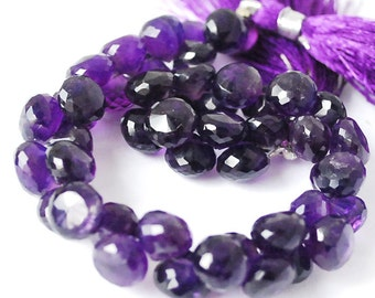1/2 strand -Very Finest  African Amethyst Faceted Onion Briolettes