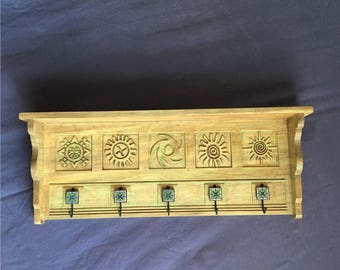 Ancient Sun Symbols Shelf and Hanger in Green