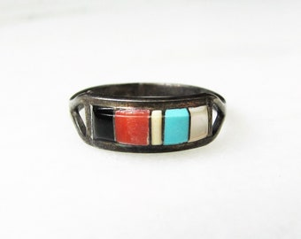 Estate Zuni Inlay Multistone Dainty Sterling Silver Ring