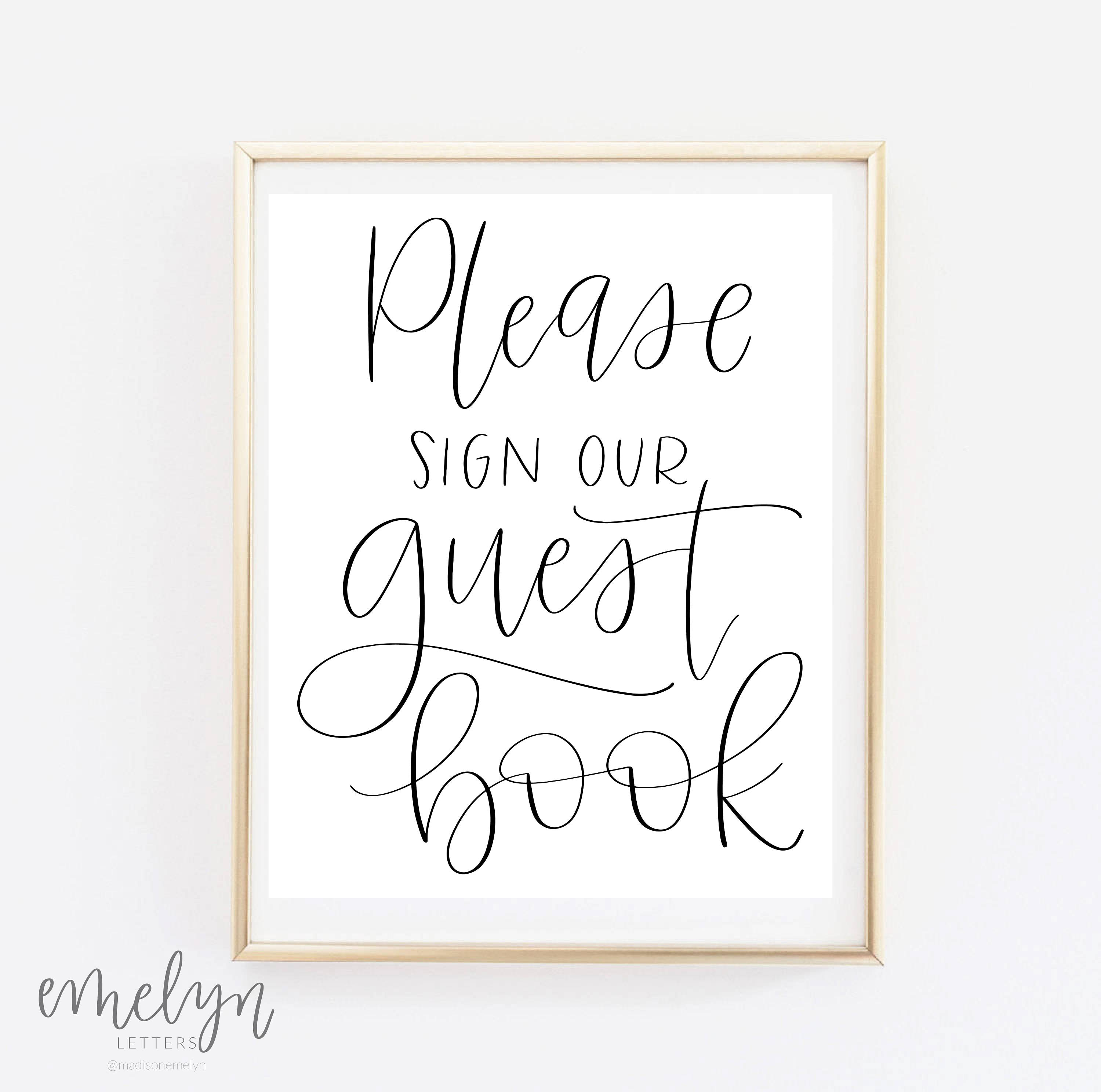 This is a graphic of Exhilarating Please Sign Our Guestbook Printable