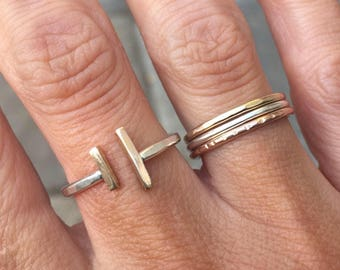 Take back the T ring- resisT, persisT, feminisT, mixed metal bar ring, silver and gold minimalist ring