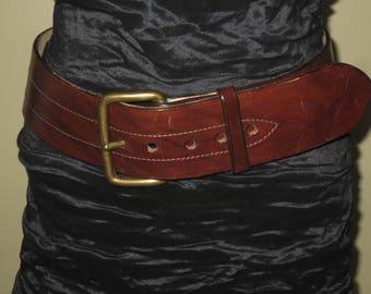 Woman's Vintage Designer Quality Dark Brown Saddle Leather Belt , Wide leather belt , Agnes B,