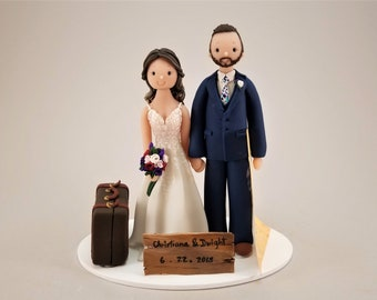 Custom Handmade Vintage Travel Theme Wedding Cake Topper