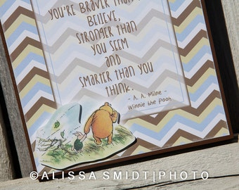 Winnie the Pooh Nursery Sign and Quote- nursery decor, nursery sign, wood box sign, Winnie the Pooh print, piglet, braver, stronger, believe