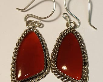 Carnelian And Sterling Silver Vintage Dangle Earrings