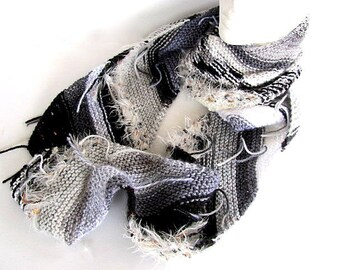 Black White Gray Magic Ball Knit Scarf Free US Shipping