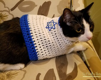 Hanukkah Cat Sweater- hanukkah cat clothing-clothes for cats-Chanukah