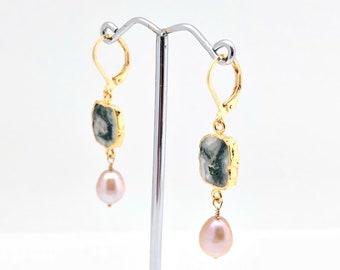 Ocean Agate with Pearl Earrings // Gold Dipped Ocean Agate Earrings // Gold Fill Lever Wires